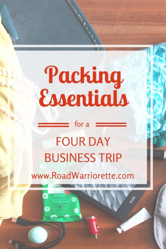 A sample packing list for a four day business trip. Business travel for women, business travel outfits, business travel packing