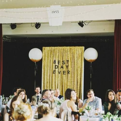 The Little White Cow shared this great image where they used our BEST DAY EVER letter banner as part of a wedding backdrop!