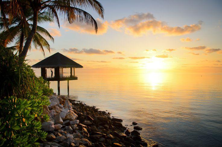 Sunset yoga at One & Only Reethi Rah resort in Maldives