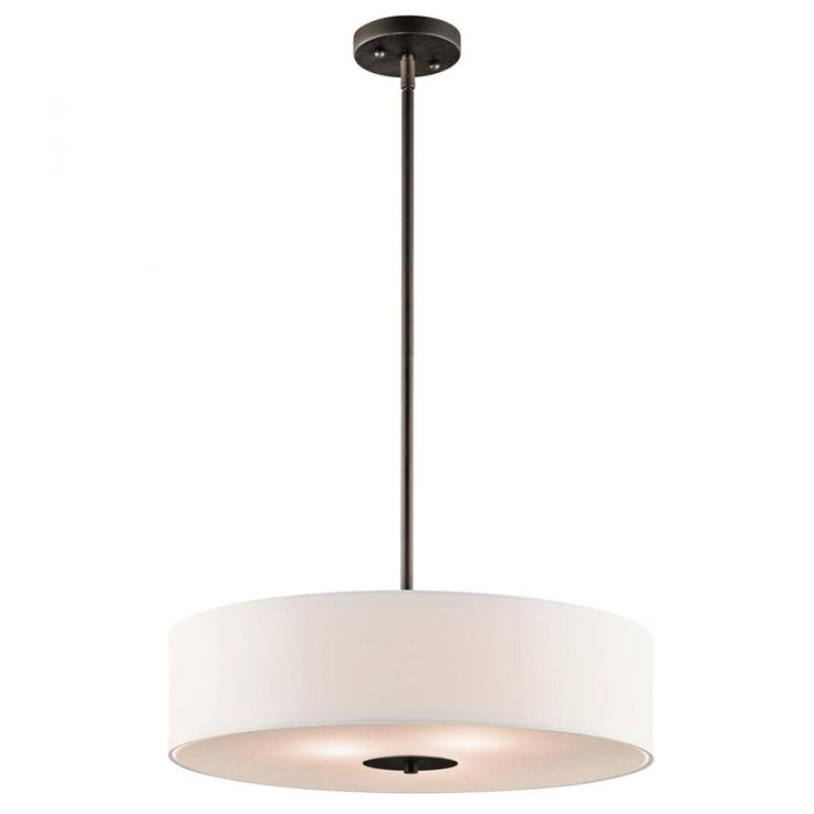 This kichler three light bronze drum shade pendant is a transitional look that goes in any