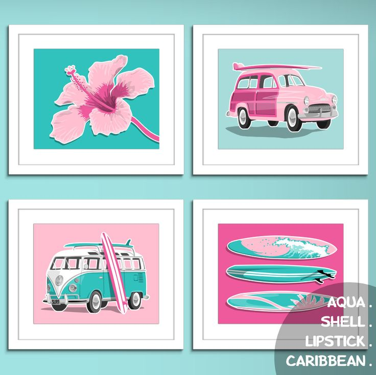surfer girl pink surf decore beach art prints surf art prints - custom colors- girls surfing decor. $45.00, via Etsy.