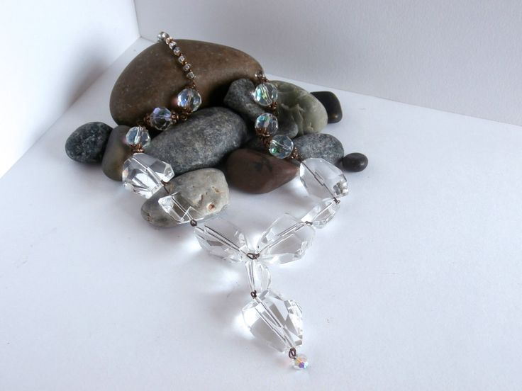 Crystal Bead Necklace - Y Necklace - Repurposed - Seed Beads - Clear Crystal by ReTainReUse on Etsy