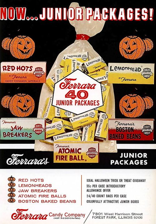 "Ferrara Candy industry trade ad, 1969 Atomic fire balls ,or as we called them ... ""automatic"" fire balls!  lol!"