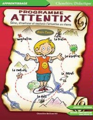 Simple et concret, le Programme Attentix propose une approche globales du phénomène de l'attention en classe. Il vise à outiller les enseignants pour prévenir les difficultés scolaires des élèves du primaire et pour mieux intervenir auprès de ceux qui présentent des difficultés d'apprentissage.