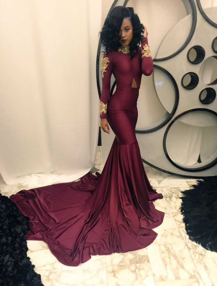 High Collar Mermaid Prom Dress with Gold Appliques