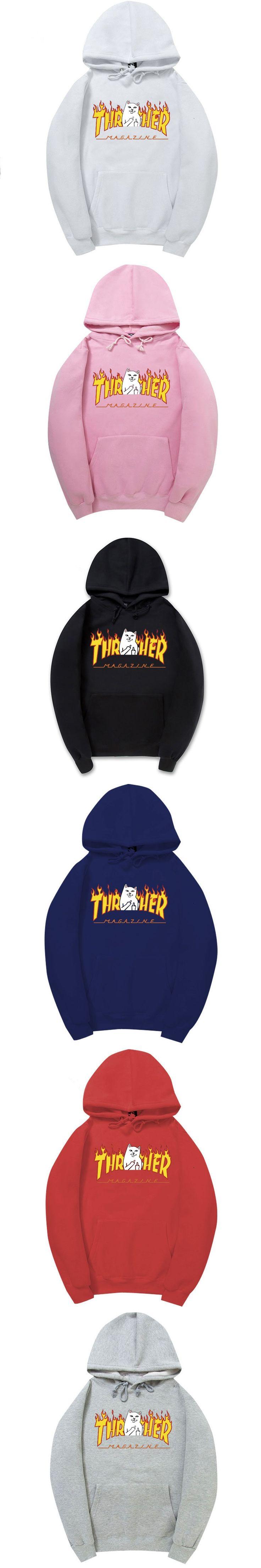 2017 New Trasher Hoodies Men/Women Fashion Printing 100% Cotton 1:1 Casual Sweatshirts Summer Skateboard Tee Boy Skate Hoodies