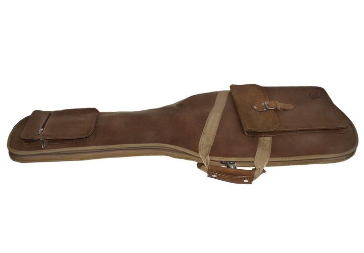 leather guitar case gig bag backpack distressed buckskin tan hand crafted h i m guitar. Black Bedroom Furniture Sets. Home Design Ideas