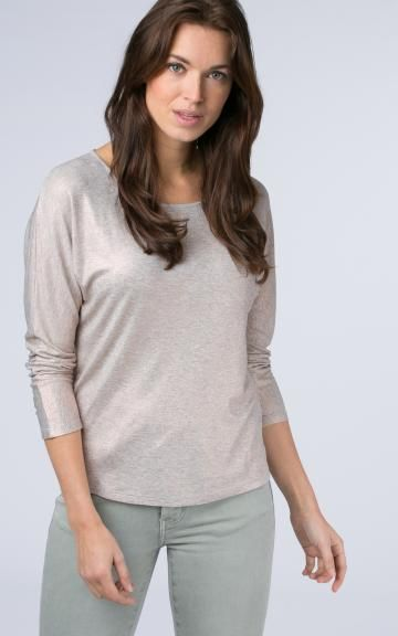 Metallic batwing top by @repeatcashmere #top #ss2017 #spring #springcolour #metallic #print #beige #batwing #casual #glossy