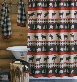 Marvelous moose shower curtains and other bathroom decor looks great with rustic decor or in a cabin or log home! You'll love the wonderful moose...