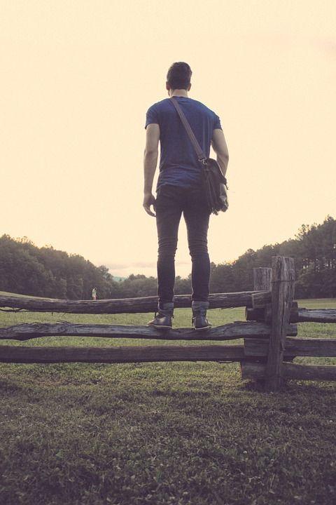 사람, 인간의, 남성, 소년, 젊은, 남자, 서있는, 울타리, 찾고, 에, 야외 활동, 보기, 목장