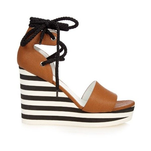 Max Mara Austin wedge sandals ($595) ❤ liked on Polyvore featuring shoes, sandals, tan, wedges shoes, tan wedge shoes, ankle wrap shoes, tan shoes and ankle strap shoes
