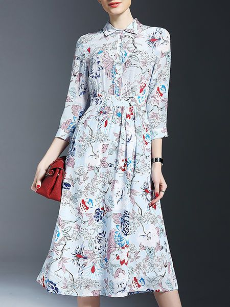 Floral-print Pockets Silk #Shirt #Dress