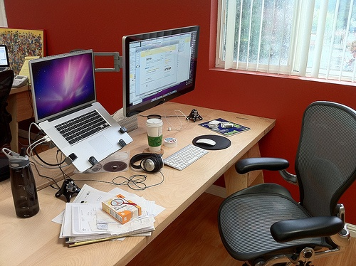 My Favorite Work Setup. Solid Core Door On Two Sawhorses, Aeron Chair, · Home  OfficeMacbook ...