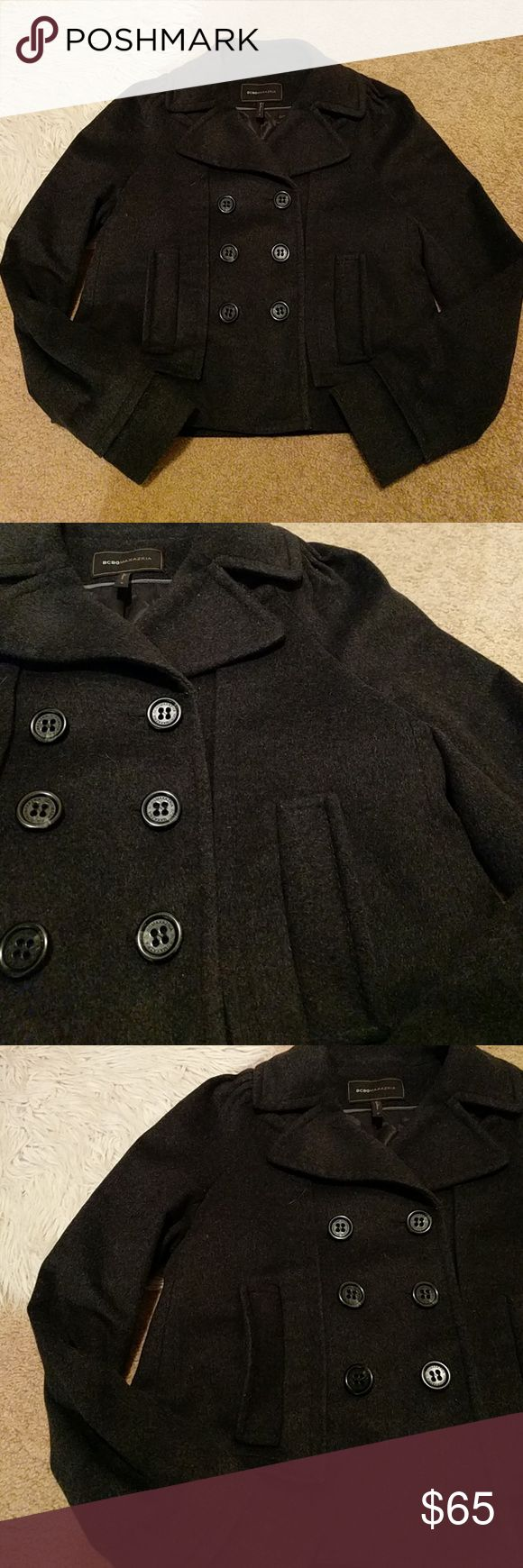 """BCBG Max Azria Dark Grey Wool Blend Coat Like new, great details throughout coat, faux double layer on cuff and bottom, double button panel, functional pockets, gathering at shoulders, 23.5"""" L, 20"""" across bust, carbon grey, lifestyle shot shows similar style only as actual coat does not have zippers BCBGMaxAzria Jackets & Coats"""
