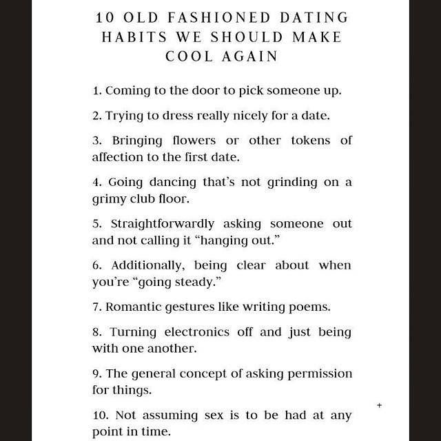 Old fashioned dating traditions