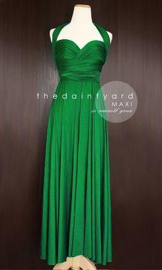 Robe longue verte emeraude