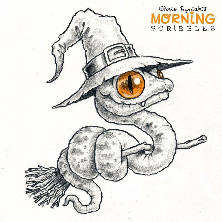 "Chris Ryniak on Instagram: ""Snake Witch! 🐍🌙 #morningscribbles #spookyscr…"