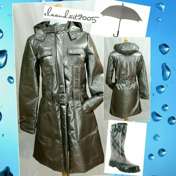 """Stylish Raincoat with removable hood. Stylish Raincoat with removable hood.  A perfect fancy raincoat that you won't find in the retail stores anylonger.  A perfect pair with a nice plaid rainboots.  This coat is fully lined and does not have to be worn as a raincoat.  It can be worn rain or shine.  Measurements: Waist 34"""", bust 36"""", & length 36"""". Smoke free environment.   New with tags. Boutique Brand Jackets & Coats Utility Jackets"""
