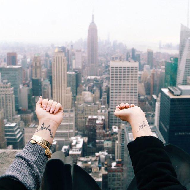 When you match the city.. & my insta bff. Goals.  #nyc #tattoos #skylinetattoo #empirestatebuilding #topoftherock