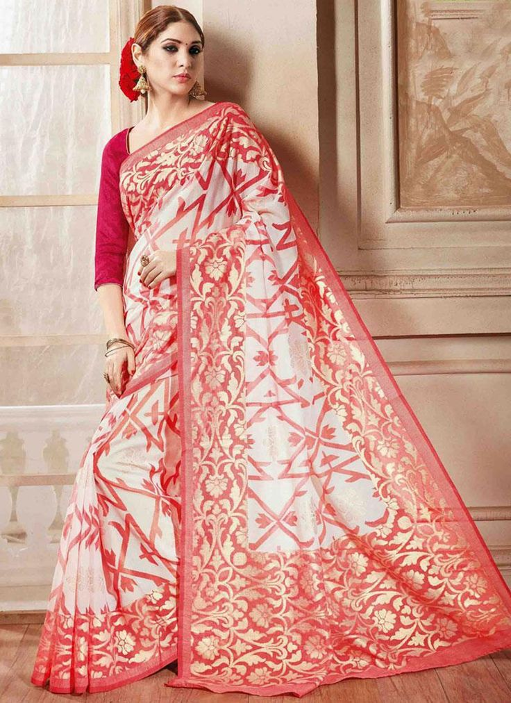 A leading online sarees store offers designer sarees. Grab this swanky red printed saree for casual.