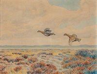 Field landscape with pheasants by Johannes Larsen