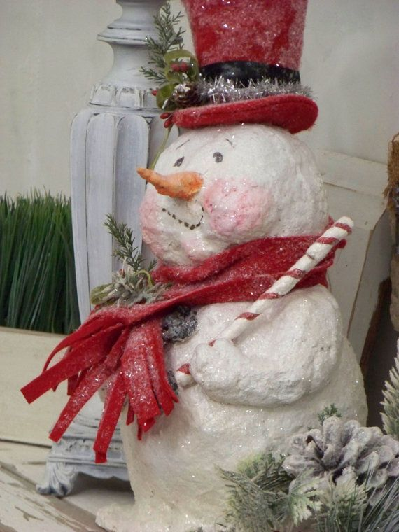 OOAK Sculpted Paper Mache Christmas Winter by pearlavenuestudios