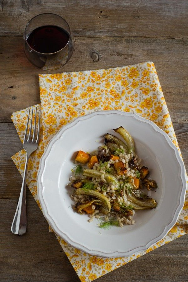 Orzo con zucca e finocchi al forno_ricetta - Barley with roasted pumpkin and fennel_ recipe