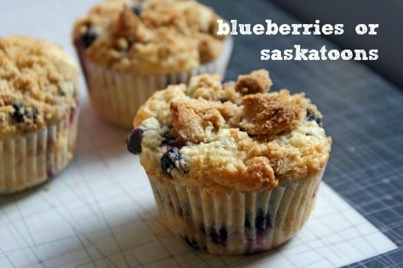 Browned Butter Blueberry Muffins (with Saskatoon berries)