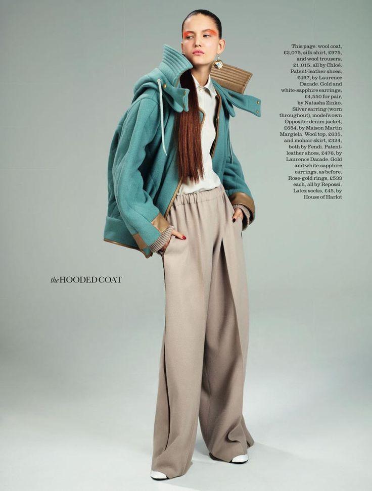 She wears Chloé (coat/trousers). David Vasiljevic Captures Nadine Ponce in Fall Staples for Elle UK August 2012