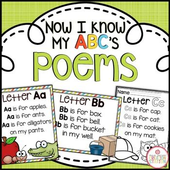 Alphabet Poems {Now I Know My ABC's Series} Have your learners enjoy the alphabet with these fun poems and rhymes! These poems come in variety of formats to allow you to determine what best meets your teaching needs! Includes: