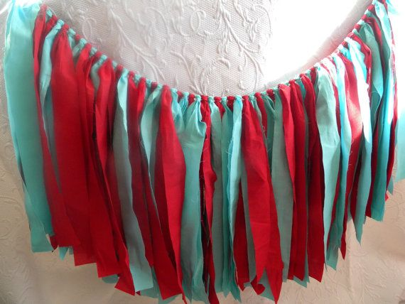 Free US Shipping/Red and Aqua Fabric Banner/Fabric Rag Banner/Fabric Banner/Pennant/Fabric Flags/Photo Prop/Bunting/Aqua Fabric Banner