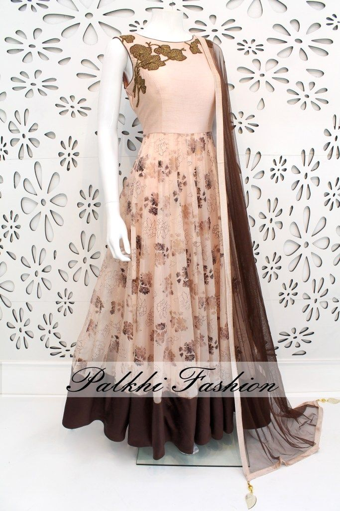 PalkhiFashion Exclusive Full Flair Rose Wood Colored Outfit With Elegant Embossed Work.