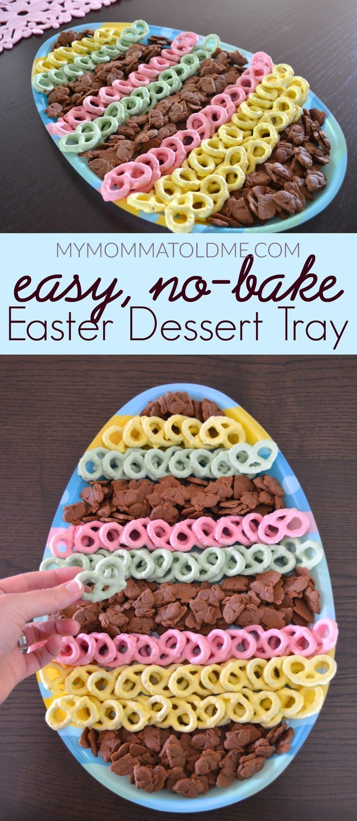 Easter dessert idea: easy no-bake Easter dessert tray!  All you need are yogurt covered pretzels (or chocolate-covered) and some bunny graham cookies!