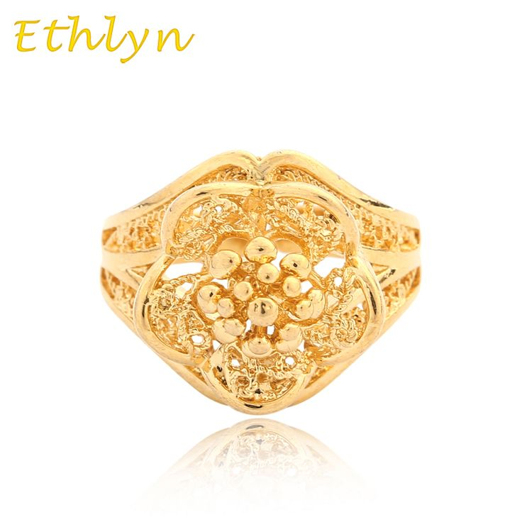 Ethlyn Flower Ethiopian wedding  ring Gold Color free size  ring  for Arab/African/Middle East Item women gift R027 #Affiliate