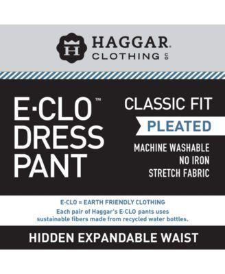 Haggar Classic-Fit Eclo Stria Double Pleated Dress Pants - Tan/Beige 42x30