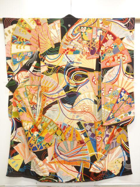 大正ロマン 錦紗桧扇に菊・桐模様刺繍五つ紋花嫁衣装振袖・打掛け・長襦袢セット(比翼付き)