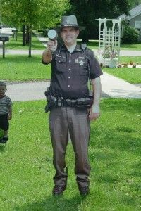 One concerned US citizen was so worried about speeding traffic traveling through their neighborhood, they bought and installed  an almost life sized cut out of Deputy Sheriff Randy Wood of Ashland County, Ohio.