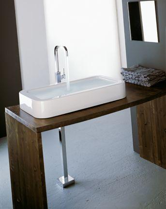 Robinet mitigeur lavabo vasque design sur pied en laiton chromé branchement au sol x change treemme création et design italiens
