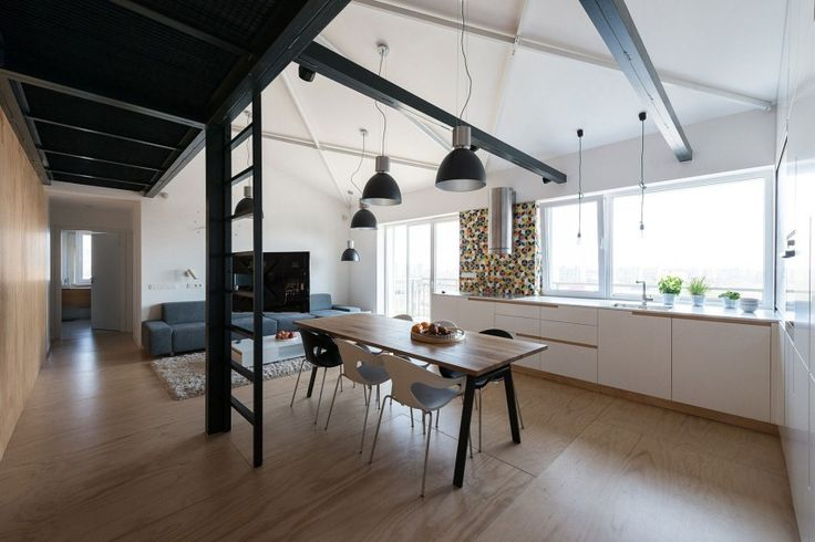 Industrial Loft Apartment in Bratislava Exhibiting Warm Vibes Throughout - http://freshome.com/industrial-loft-in-bratislava-with-warm-vibes-throughout