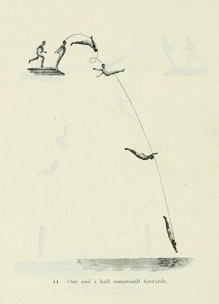 Diagram showing the trajectory of a dive as performed at the 1912 Olympics in Stockholm - from The Fifth Olympiad: the Official Report of the Olympic Games of Stockholm 1912 housed by the Internet Archive, donated by the University of Toronto.