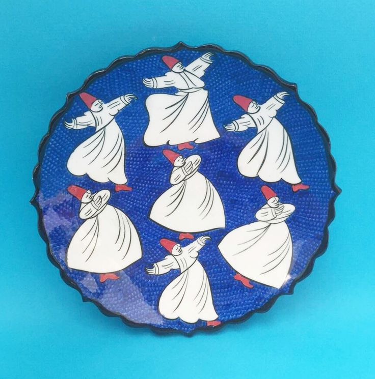 WHIRLING DERVISH CERAMIC PLATE, BLUE , 18 cm
