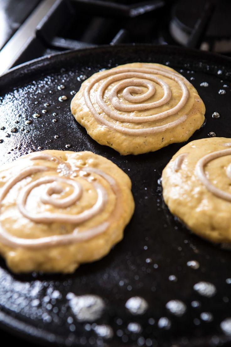 Spiced Pumpkin Cinnamon Roll Pancakes   halfbakedharvest.com #Kürbis #Kürbispa …   – FOOOD
