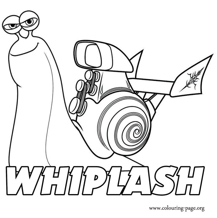 How about coloring this beautiful picture of whiplash he is a character of the movie turbo and a charismatic snail