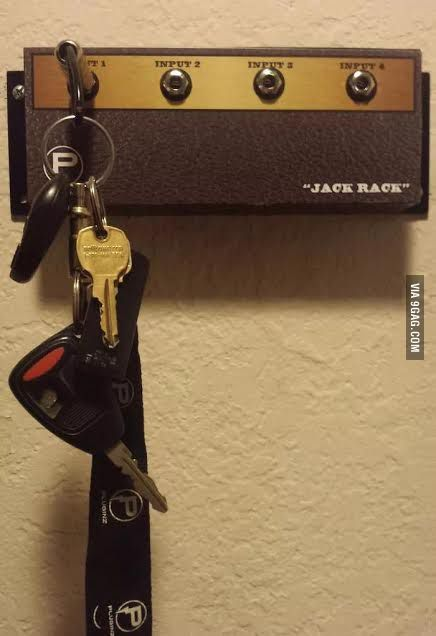 Musician came up with a new way to hang his keys..