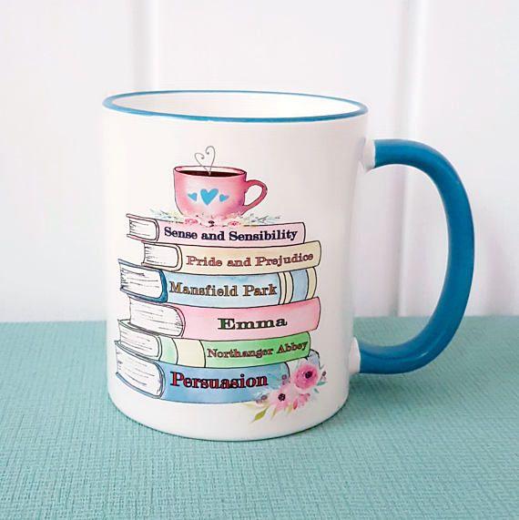 Jane Austen Book Mug. Blue. Pride and Prejudice #literary #gift by MissBohemia on etsy