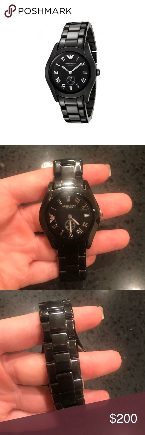Armani AR1402 black ceramic watch NWT Armani AR1402 black ceramic watch NWT. This watch is in fantastic condition! The tags are still attached. The battery is dead and needs replaced (extremely cheap and easy to do) this does not come with the Armani watch box Emporio Armani Accessories Watches