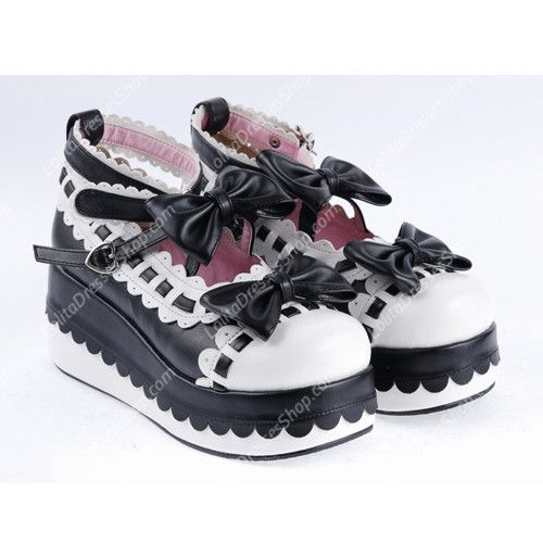 Cheap Black and White PU Sweet Lolita Shoes Sale At Lolita Dresses Online Shop