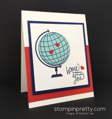 Places You'll Go Photopolymer Stamp Set globe card created by Mary Fish, Stampin' Up! Demonstrator.  1000+ StampinUp & SUO card ideas.  Read more http://stampinpretty.com/2016/06/places-youll-go-ppa307.html