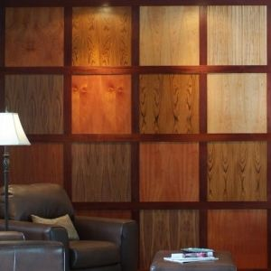 Hardwood plywood cut into squares with different stains.