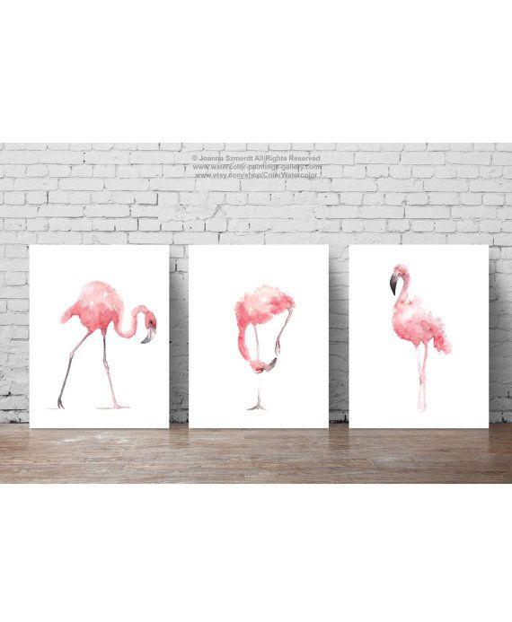 Pink Flamingo Set of 3 Art Prints. Flamingoes Whimsical Tropical Artwork Baby Nursery Gift Idea. Pink Bird Wall Decor. Flamingos Room Wall Art